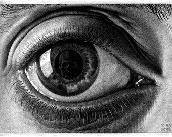"M.C. Escher Eye of the beholder art poster reproduction canvas print illusion optical Illusion art  giclee 16,5""х11.7"", 8.3""х11.7"""