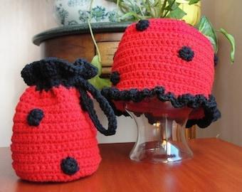 Baby Girl Hat CROCHET PATTERN Animal LADYBUG Beanie Cloche Hat and Purse