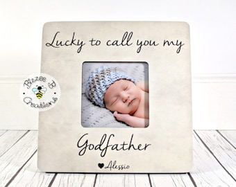 ON SALE Godfather Picture Frame Gift, Godchild Baptism, Christening, Dedication, Godfather Present, Goddaughter, Godson, Lucky To Call You M