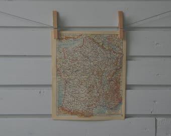 1936 Vintage Map of France