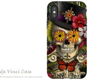 New Orleans Sugar Skull iPhone X Tough Case - Artistic Voodoo Baron Samedi Skull iPhone 10 Case - Dual Layer Protection - Baron in Bloom