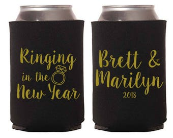 Custom Wedding Favor - Ringing in the New Year Can Coolers - Wedding Can Coolers