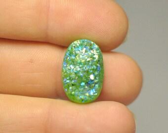 Natural Green Blue Titanium Druzy Quartz Cabochon Gemstone Oval Shape Ring size 19x12x9 mm. 14.85 Cts.