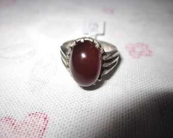 Sterling Silver Red Carnelian Geo Striped Band Ring 8 (1930)