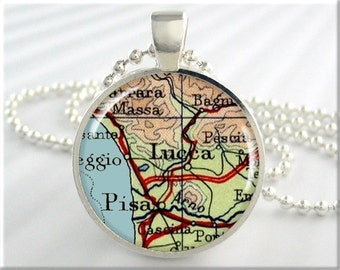 Lucca Italy Map Pendant, Resin Charm, Pisa Italy Map Necklace, Picture Jewelry, Gift Under 20, Map Charm, Travel Gift, Round Silver 687RS