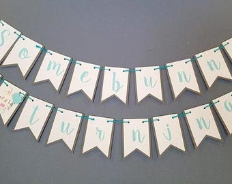 Bunny birthday party decoration, rabbit birthday, bunny banner, rabbit birthday decoration, Some bunny is one!
