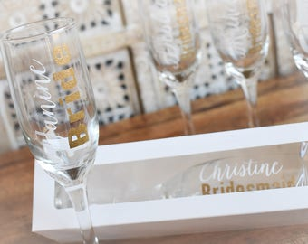 5 bridesmaid champagne glasses personalized bridal party gifts