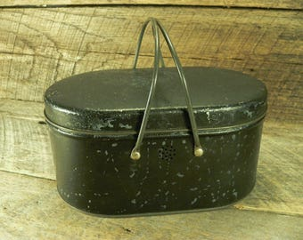 LUNCH BOX: Vintage Metal Lunch Tin with Handles, Oval Lunch Pail to Repurpose, Display, Storage
