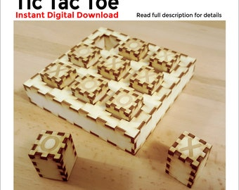 Tic Tac Toe Plan, ready to laser cut - Digital file to create Tic Tac Toe sets with a laser engraver