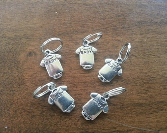 Knitting Stitch Markers - Silver Baby Onesies