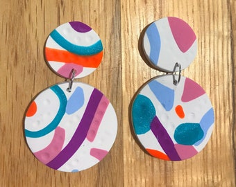 Dangling, bright, fun and colourful Polymer Clay earrings