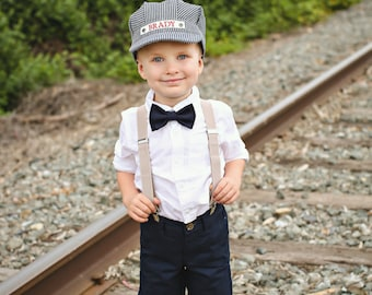 Personalized Train Hat with Red Bandana, Personalized Train Set, Train Engineer Hat, Custom Train Cap, Kids Train Hat, Toddler Train Hat