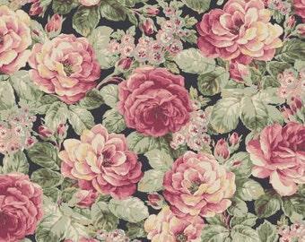 Ruru Bouquet Prima  Roses on Black  Cotton Fabric Rose ru2260-11F