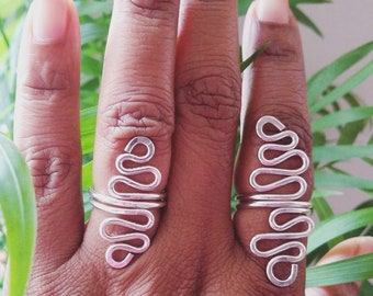 Finger Wave. Sterling silver rings. Sterling over the knuckle rings. Silver statement ring. Big silver rings