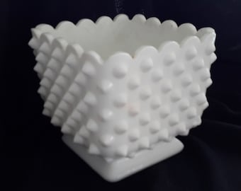 Square white milk glass hobnail footed vase