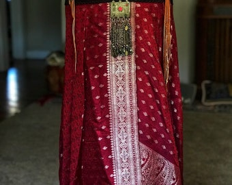 Fire Dancer      Handmade Silk Sari from India wrap skirt with a handmade leather belt with weave loom turkoman pendant
