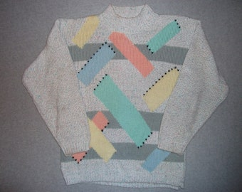 Abstract 80s 90s Vintage Hipster Cool Rocker Sweater Rock Star Tacky Gaudy Ugly Christmas Party X-Mas Cosby Winter Warm 1980s 1990s M Medium