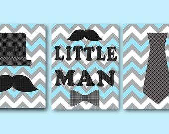 Blue Gray Little Man Kids Wall Art Baby Boy Nursery Art Decor Children Art Print Baby Nursery Print Nursery Print Boy Art set of 3 Art