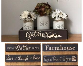 Fall Centerpiece, Fall Table Decor, Fall Decor, Fall Decoration, Gather Sign, Rustic Home Decor, Fall Mason Jar Centerpiece, Sunflowers