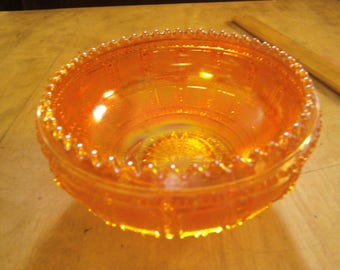 Small round carnival glass bowl