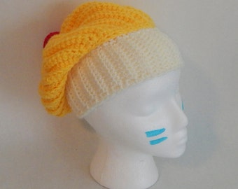 SALE Crochet Slouchy Lemon Cupcake Hat