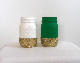 St. Patricks Day Mason Jars (2). Green and White Jars with Gold Glitter. Boston Celtics Team Jars.