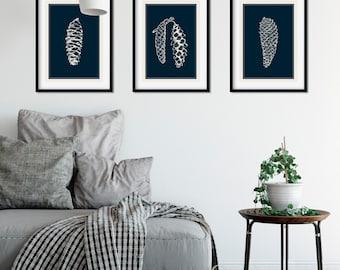 Pine Cone Print, Minimalist Art, Winter Prints, Wall Art, Scandi Art Prints, Wall Art Prints, Nature Print, Dark Blue Print, Digital Prints
