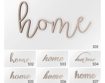Home Wood Word, Scroll Cut Word, Home Sign, Home Cutout, Cursive Home, Fancy Script Home, Wall Decor Word, Home Wood Decor