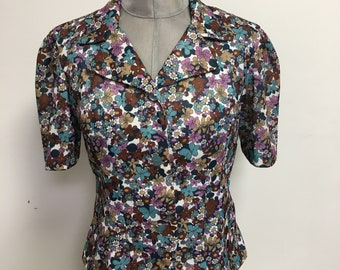 Womens Vintage 1960s Blazer Blouse Floral Flower Short Sleeve White Blue Summer Size UK 8 FREE UK & Cheap Worldwide Postage