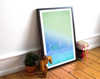 Minimalist Art Print, Mountain Art, Scandinavian Print, Abstract Landscape, Blue Art, Modern Wall Art, Sunset Art, Minimalist Poster