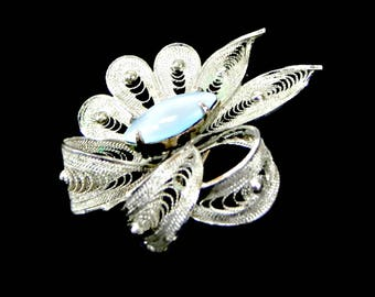 Sterling Silver Blue Moonstone Brooch Signed Alice Caviness Book Piece