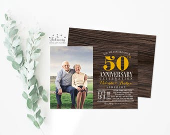 ANY YEAR / 50th Rustic Anniversary Invitation Photo Anniversary Invite Rustic Ruby Red Wedding Anniversary Invite No.1007ANNIVERSARY