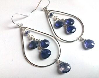 Iolite Teardrop Hoop Earrings, Limited Quantity, gold upon request, gemstone hoop earrings