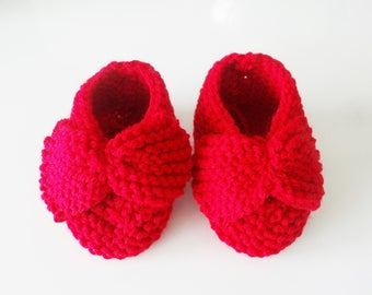 Red wool baby booties