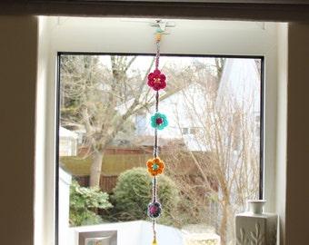 Crochet flower hanging garland
