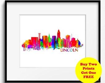 Lincoln Skyline Watercolor Art Print (060) Cityscape