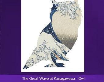 Owl Cross Stitch, The Great Wave at Kanagawawa, Counted Cross Stitch Kit, Wave CrossStitch, DMC Materials