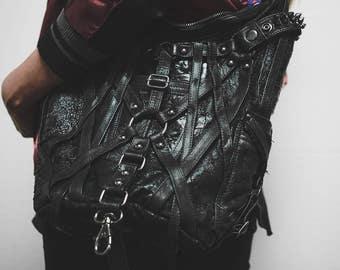 Mini RAGE CAGE Black Leather Hobo Shoulder Bag by Jungle Tribe