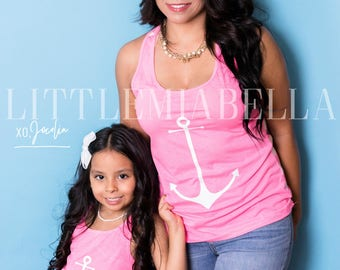 Pink anchor,mommy and me outfits,mommy and me, matching outfits, matching shirts, summer tees, mother daughter, matching tee,mommy and baby