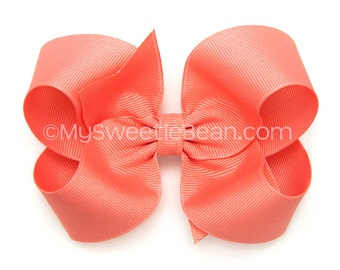 Coral Hair Bow, 4 inch Basic Bow, Coral Boutique Bow, Classic Bow for Girls, No Slip Hair Bows for Baby, Large Grosgrain Bow, Toddler Girl