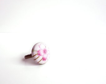 LAST! Sakura Ring - MANGETSU - Adjustable Japanese cherry blossom ring fabric, flower fabric - light pink gold line copper ring