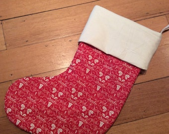Genuine Quality Padded and Lined, 55cm Long, Calico & Red Festive Bell Christmas Stockings