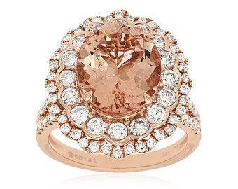 14k Rose Gold Oval Morganite Double Scallop Halo Ring BX200-189