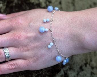 sterling silver and blue lace agate gemstone charm bracelet. hypoallergenic beaded bracelet. zodiac birthstone Pisces. healing bracelet