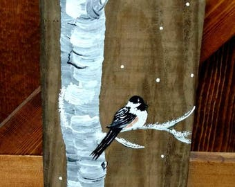 Pallet birch tree art with two chickadees.
