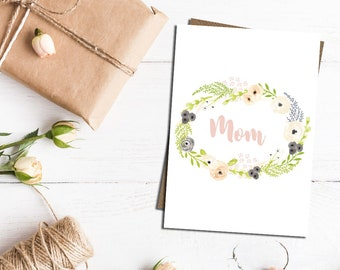 Mom card, card for mum, happy birthday mum, with love mum, mum card, Mother's Day card
