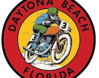 Vintage Style  Daytona Beach Florida  Motorcycle Bike Week Racing  1960's    Travel Decal bumper sticker surf surfboard