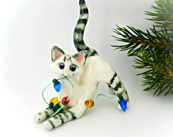 Siamese Lynx Point Cat Christmas Ornament Figurine Porcelain