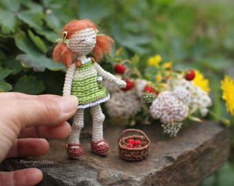 Crochet Doll Miniature Art Summer Girl with Berries Basket, Bear, Collectable Gift, Red Hair Teen, Cute Interior Mini Doll with Strawberries