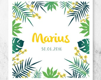 TROPICAL, original and modern to be personalized birth announcement